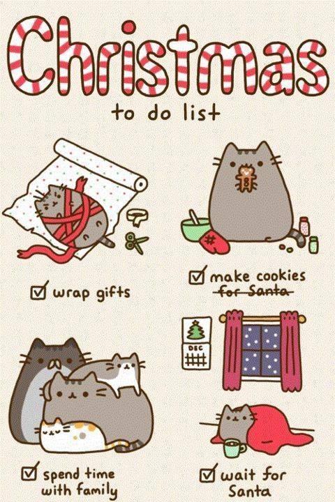 Котики для срисовки новый год